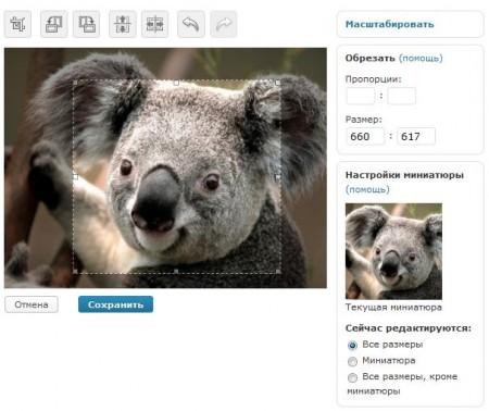 Пример работы редактора изображений в WordPress 2.9